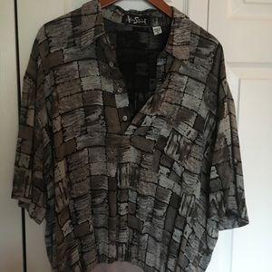 Vintage Alan Stuart 80's Disco Shirt Banded Waist
